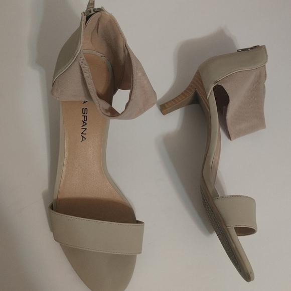 Moda Spana Meg Nude Mesh Cream Heels 9.5